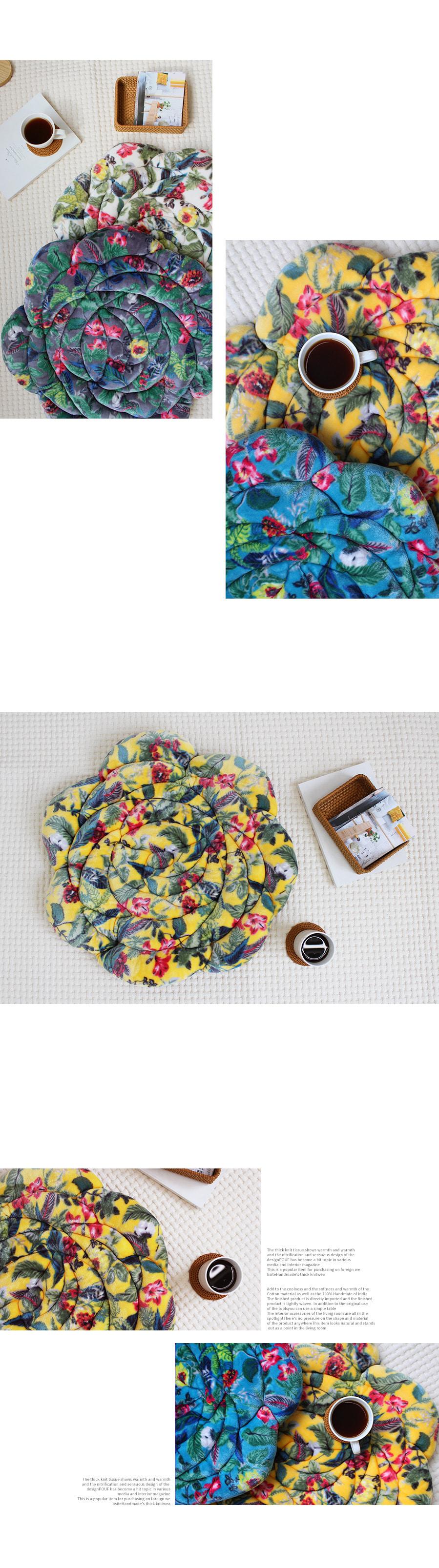 레트로 플라워 극세사방석 - 옐로우 - 아카시아, 38,000원, 방석, 패턴