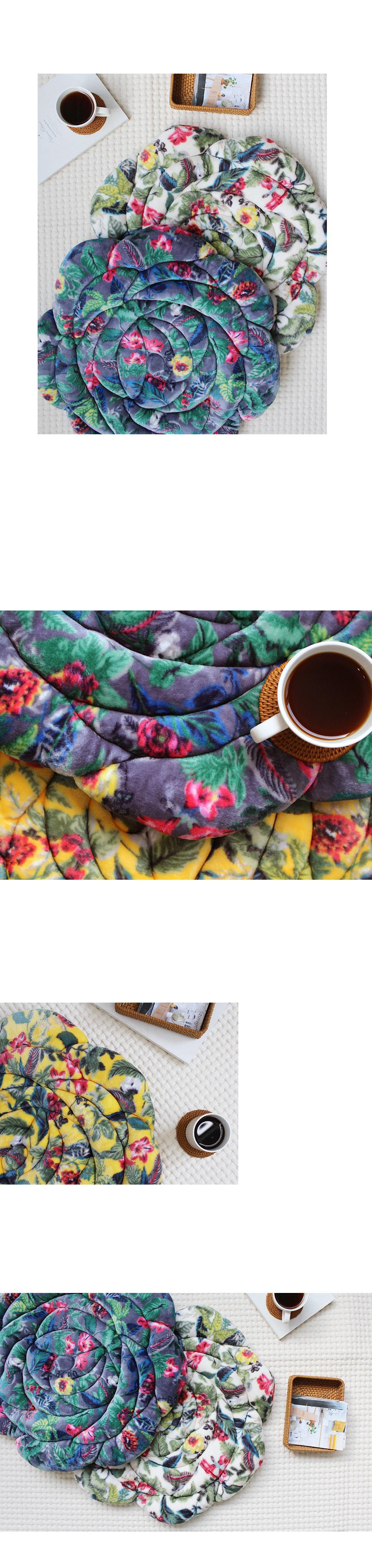 레트로 플라워 극세사방석 - 그레이 - 아카시아, 38,000원, 방석, 패턴
